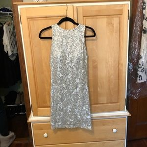 Cache Sparkly Silver Cocktail Dress